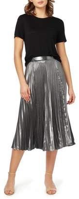 Nicole Miller New York Pleated Metallic Midi Skirt