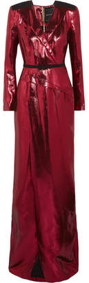 Roland Mouret Zodiac Belted Wrap-effect Lamé Gown - Red