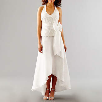 BLU SAGE Blu Sage Sleeveless Embroidered Halter Wedding Gown