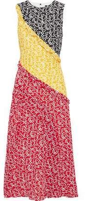 Saloni Agnes Ruffle-trimmed Printed Silk Crepe De Chine Midi Dress