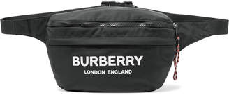 Burberry Logo-Print Convertible Canvas and Shell Belt Bag - Men - Black