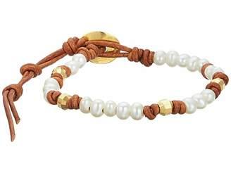 Chan Luu Pearl and Leather Single Wrap Bracelet