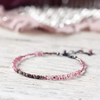 Artique Boutique Pink Topaz And Rough Diamond Bracelet