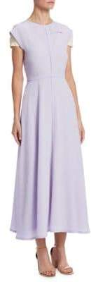 Victoria Beckham Silk Cap-Sleeve A-Line Midi Dress