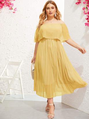 Shein Plus Off-shoulder Pleated Chiffon Dress
