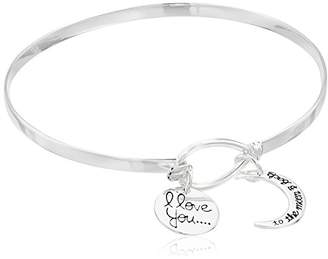 """Sterling Catch""""I Love You To The Moon and Back"""" Bangle Bracelet"""