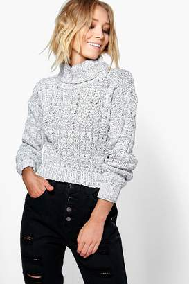 boohoo Marl Cable Knit Chunky Crop Sweater