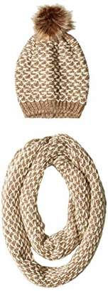Orchid Row Womens's Fancy Multi Color Casual Cozy Knit Infinity Scarf and Beanie Set /White O/S
