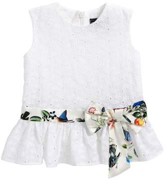 Oscar de la Renta Small Flower Eyelet Peplum Dress (Toddler Girls, Little Girls & Big Girls)