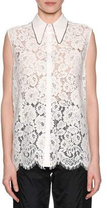 No.21 No. 21 Collared Button-Front Lace Tank