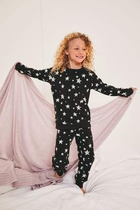 Next Girls Monochrome Star Cosy Pyjamas (3-16yrs) - Black