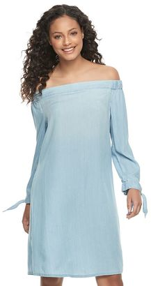Juniors' SO® Chambray Off Shoulder Shift Dress $40 thestylecure.com