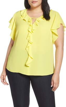 Vince Camuto Ruffle Flutter Sleeve Top