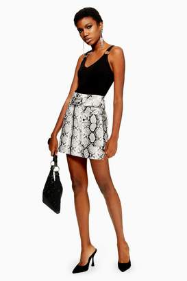 Topshop Snake Print Leather Look Belted Mini Skirt