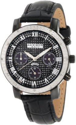 Akribos XXIV Women 's ak437bk Grandiose Diamondクオーツクロノグラフブラックダイヤル時計
