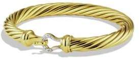 David Yurman Cable Buckle Bracelet with Diamonds in Gold