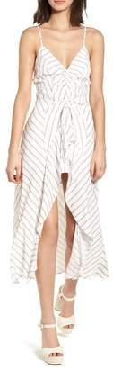 Lush Stripe Gathered High\u002FLow Dress