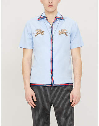 Gucci Flying tiger-embroidered regular-fit cotton shirt