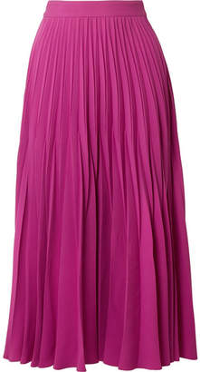 Co Pleated Crepe Midi Skirt - Magenta