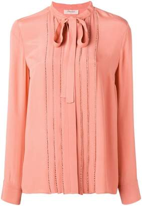 Twin-Set crystal-embellished crepe blouse