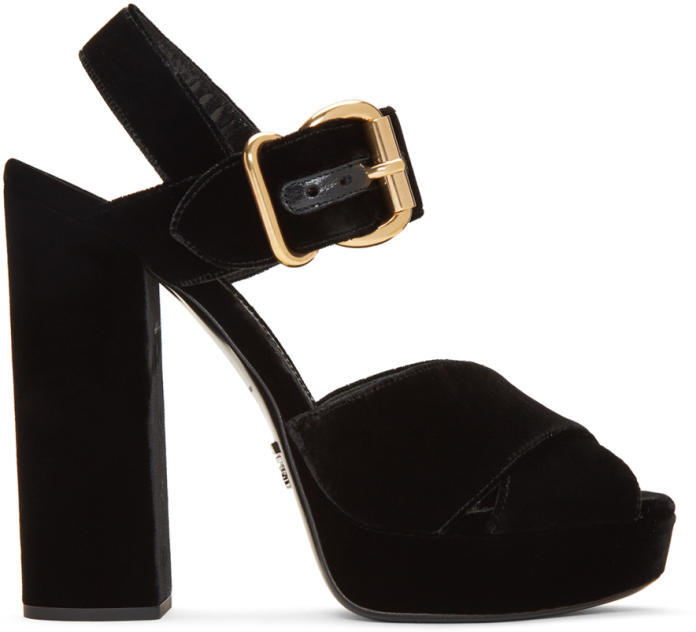 Prada Black Velvet Platform Sandals