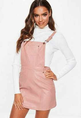 Missguided Pink Faux Leather Pinafore Dress