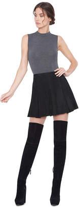 Alice + Olivia Lee Suede Box Pleat Mini Skirt