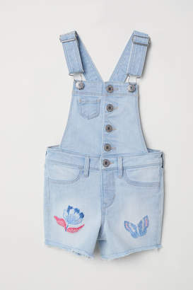 H&M Embroidered Bib Overall Shorts - Blue