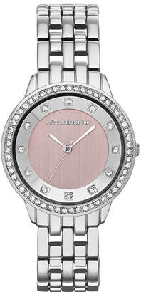 Liz Claiborne Womens Pink Crystal-Accent Bracelet Watch