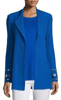 Misook Petite Long Knit Jacket with Grommet Detail