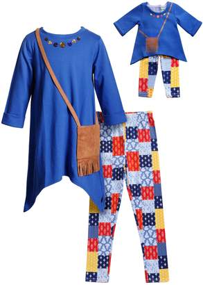 Dollie & Me Girls 4-14 Tunic Top, Patchwork Printed Leggings & Fringe Purse Set