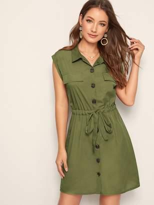 Shein Drawstring Waist Button Front Cargo Dress