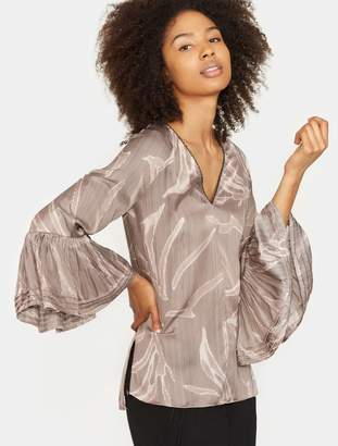 Halston Printed Long Sleeve Ruched Top
