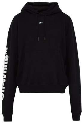 Off-White Off White Flame Print Cotton Hooded Sweatshirt - Mens - Black