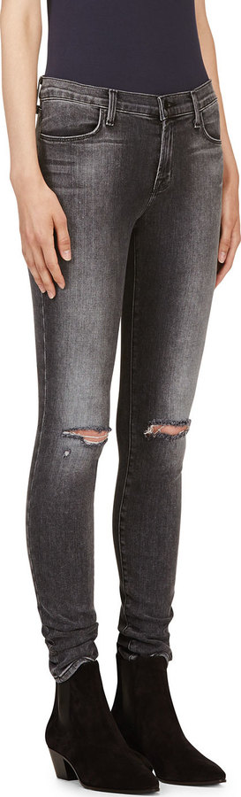 J Brand Grey Distressed Super Skinny Jeans