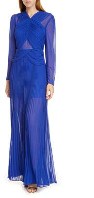 Self-Portrait Crossover Bodice Long Sleeve Chiffon Gown