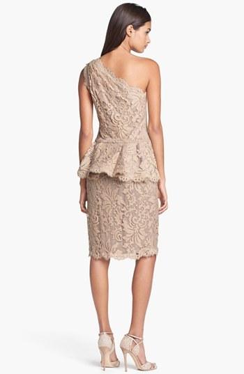 Tadashi Shoji One Shoulder Lace Peplum Dress
