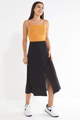 Urban Outfitters Phoebe Polka Dot Button-Down Midi Skirt