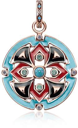 Thomas Sabo 18k Rose Gold Plated Sterling Silver Round Pendant w/Glass-ceramic Stones