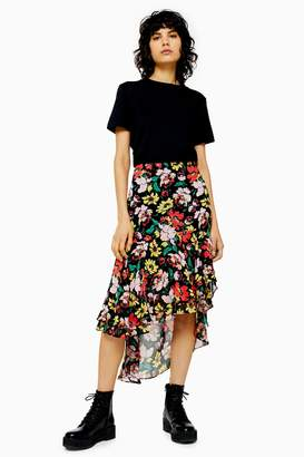 Topshop Black Floral High Low Skirt