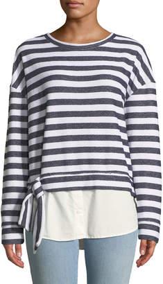 Sanctuary Ally Striped Shirttail-Hem Sweatshirt