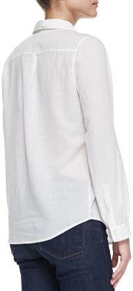 Joie Millicent Sheer Cotton-Voile Blouse