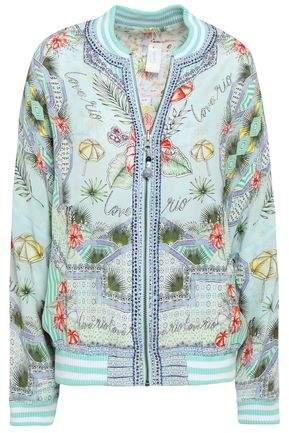 Embellished Printed Silk Bomber Jacket