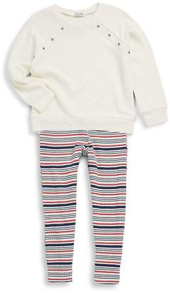 Splendid Little Girl's Two-Piece Grommet Sweatshirt & Striped Leggings - White, Size 5-6