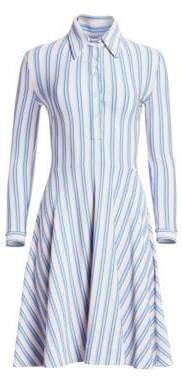 Calvin Klein Women's Striped Shirtdress - Sky Ivory Dusty Orange - Size 40 (4)