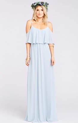 Show Me Your Mumu Caitlin Ruffle Maxi Dress ~ Steel Blue Chiffon