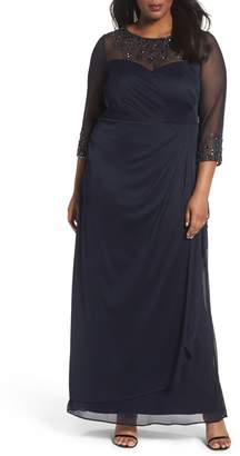 Alex Evenings Beaded Illusion Neck A-Line Gown