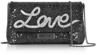 Love Moschino Love Sequins Metallic Black Clutch W/chain Strap
