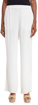 Go Silk Silk Crepe Easy Contrast-Trim Pants, Plus Size