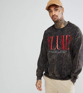Reclaimed Vintage Inspired Oversized Crew Neck Sweatshirt In Acid Wash With Print